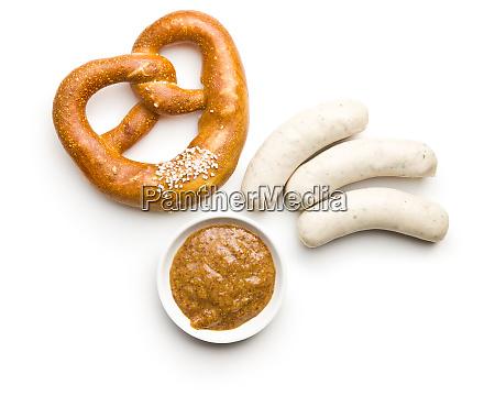 the bavarian weisswurst pretzel and mustard