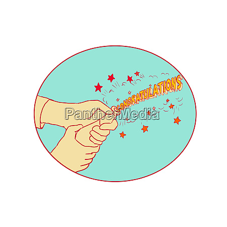 congratulations hand popping champagne drawing