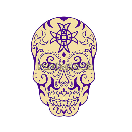 mexican skull with triskele and