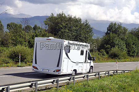 camper driving on a french national
