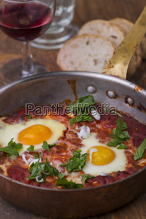 israeli shakshuka with red wine