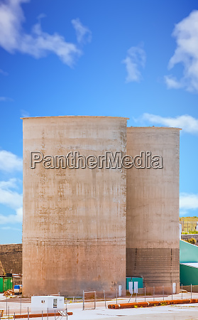 two cement vats