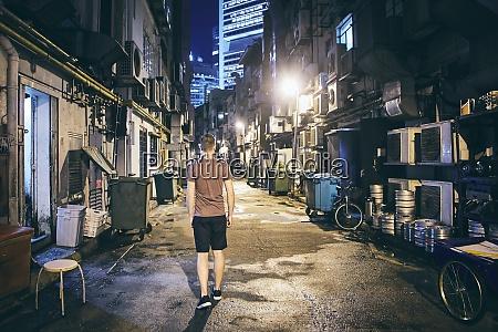 dark narrow street in the city