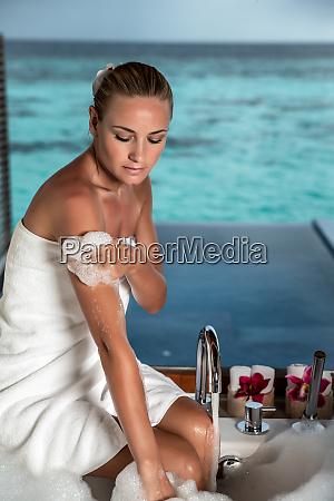 pretty woman taking bath