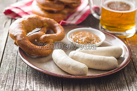the bavarian weisswurst pretzel and mustard