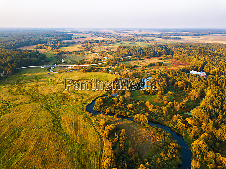 autumn sunset rural aerial view with