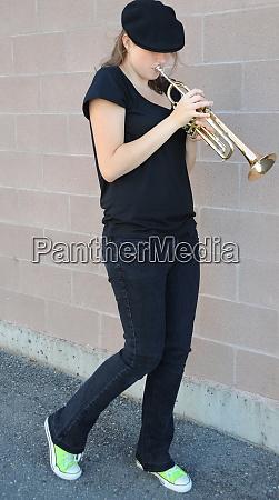 female jazz trumpet player