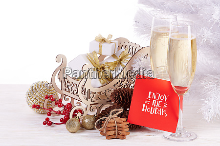 champagne and gift new year and