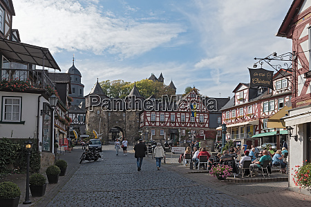 historic half timbered houses at the