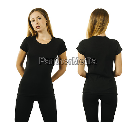young woman wearing blank black t