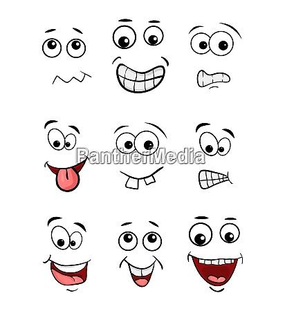 cartoon face set isolated on white