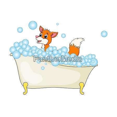 cartoon fox in bathtub witth bubbles