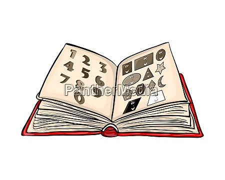 open book cartoon with numbers and