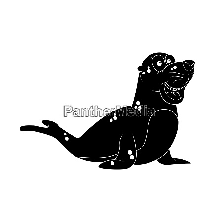 cartoon seal silhouette isolated on white