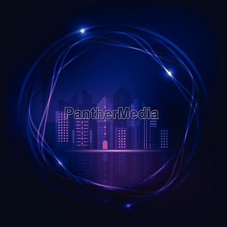 neon night city design abstract background