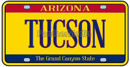 arizona tucson state license plate