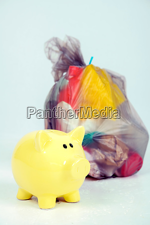 garbage bag with defferent content with