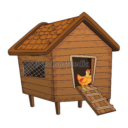 cartoon chicken coop and hen isolated