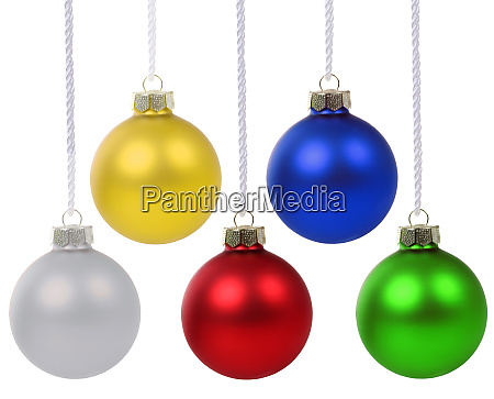 christmas balls baubles colors hanging isolated