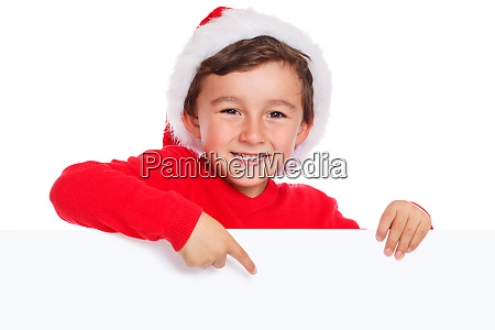 child kid christmas santa claus pointing