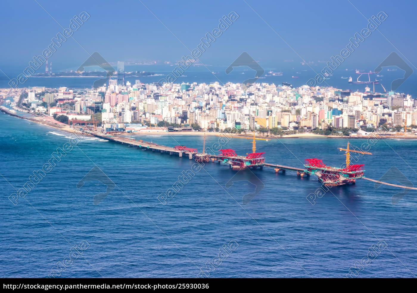 Royalty Free Photo 25930036 Male Maldives Capital City Island Sea Bridge Aerial Photo