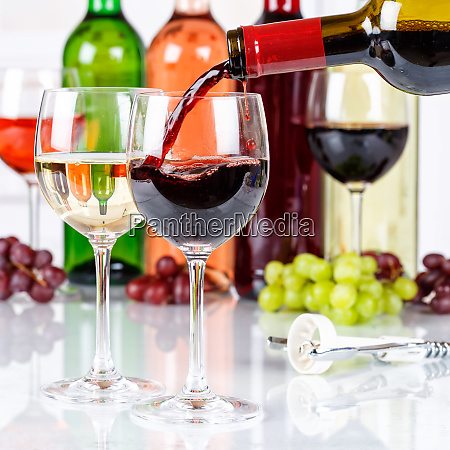 wine pouring glass bottle red square