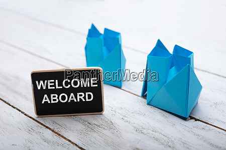 close up of welcome aboard text
