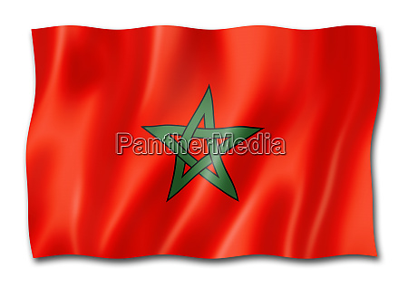 moroccan flag isolated on white