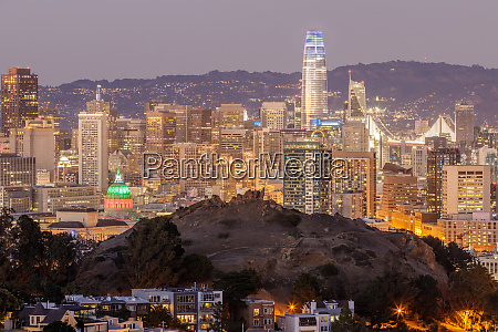 dusk over san francisco downtown with