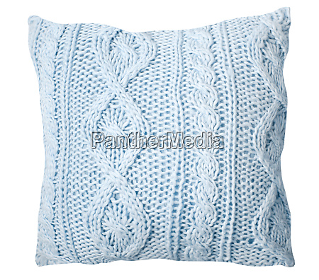 handmade stylish light blue knitted pillow