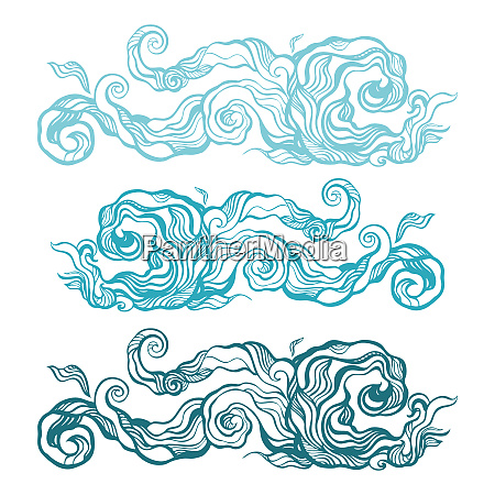 ocean waves set elegant hand drawn