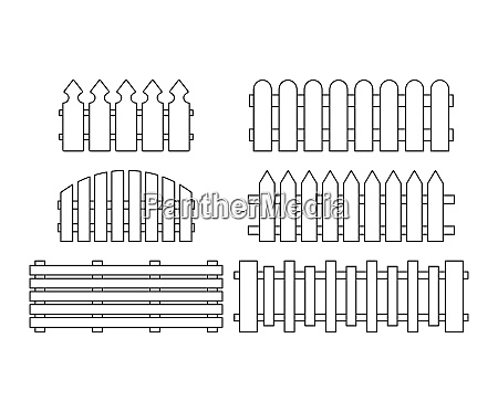 wooden fence set simple outline design