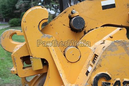 closeup of elbow of bucket excavator