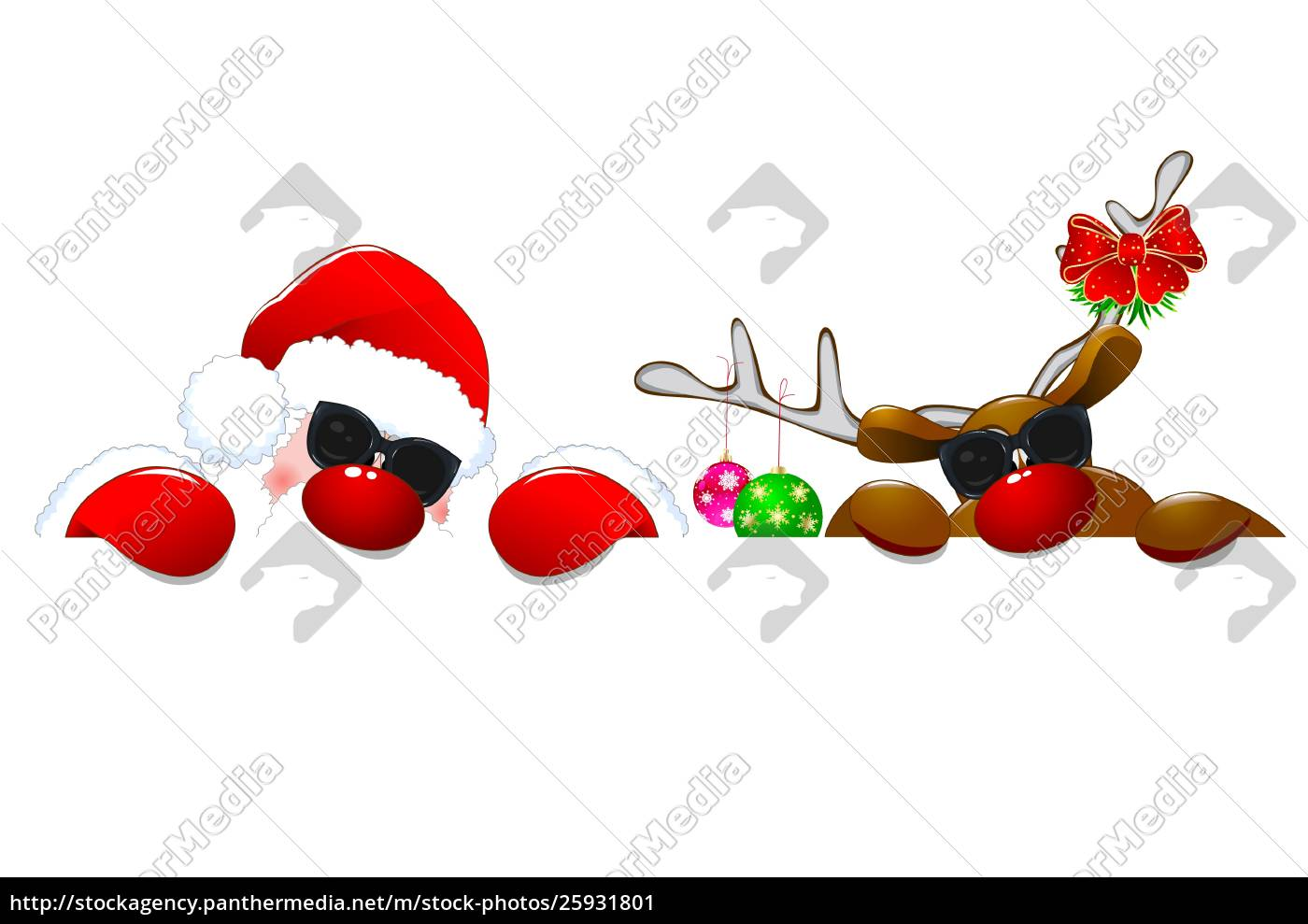 santa, and, a, reindeer, in, sunglasses - 25931801