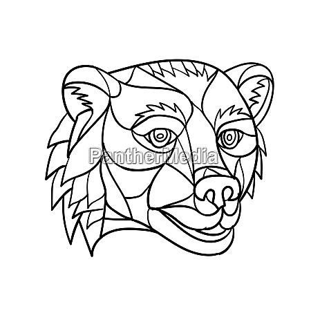grizzly bear head mosaic black and