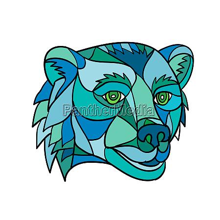 grizzly bear head mosaic