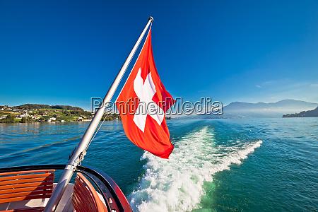 switzerland, flag, on, boat, flowing, luzern - 25932985