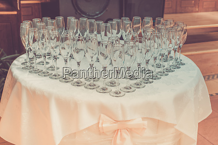 table with champagne glasses retro toned