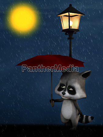3d rendering of a cartoon racoon