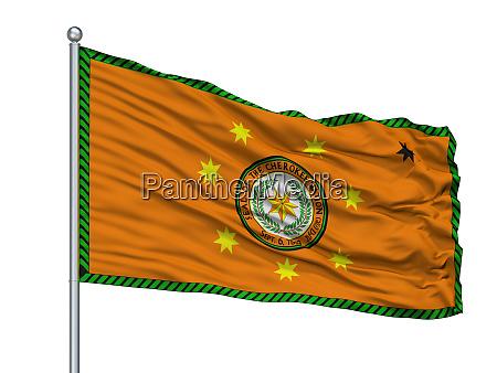 cherokee nation indian flag on flagpole