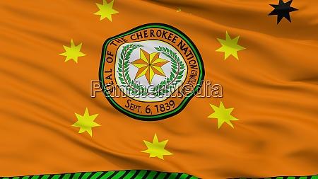 cherokee nation indian flag closeup view