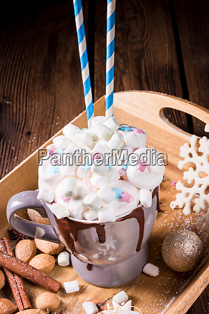 hot chocolate with colorful mini marshmallows