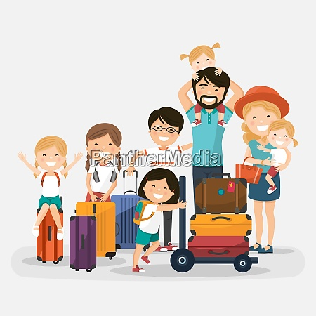 happy numerous family with luggage on