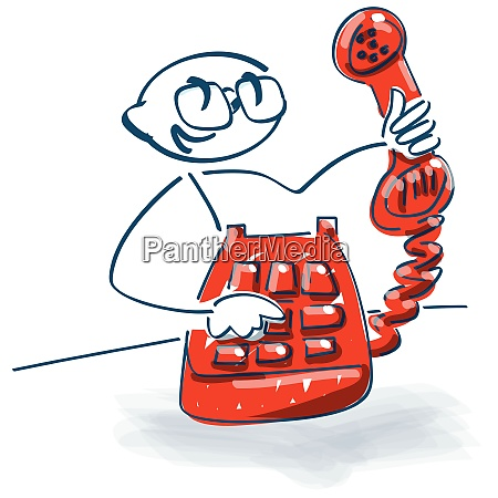 stick figure with an old telephone