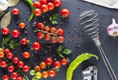 ripe red cherry tomatoes chili and