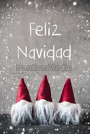 red gnomes snowflakes feliz navidad means