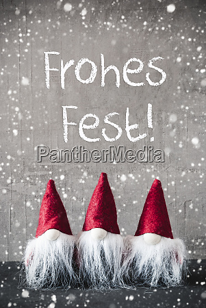 gnomes snowflakes frohes fest means merry