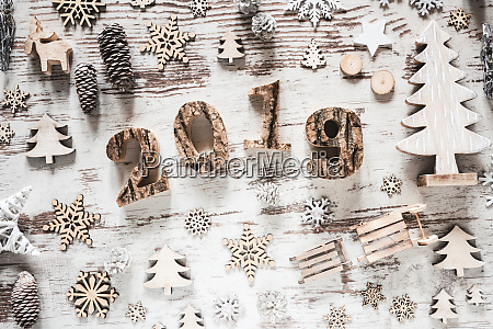 rustic christmas decoration with text 2019
