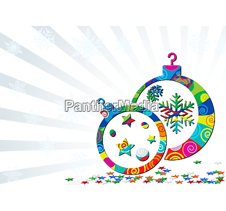 background with abstract christmas baubles