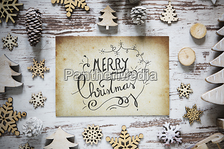 rustic christmas decoration paper calligraphy merry